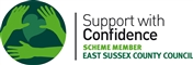 Accreditation: support with confidence logo for Crossroads Care